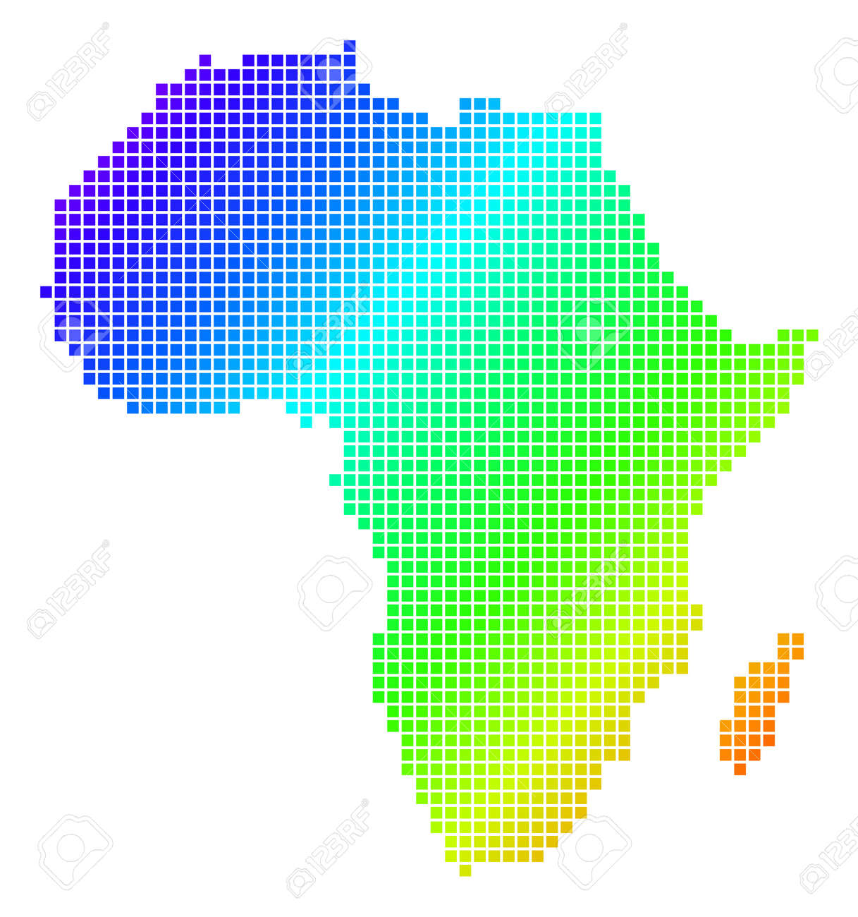 Plain Africa Map.Spectrum Dotted Pixel Africa Map Isolated On Plain Background