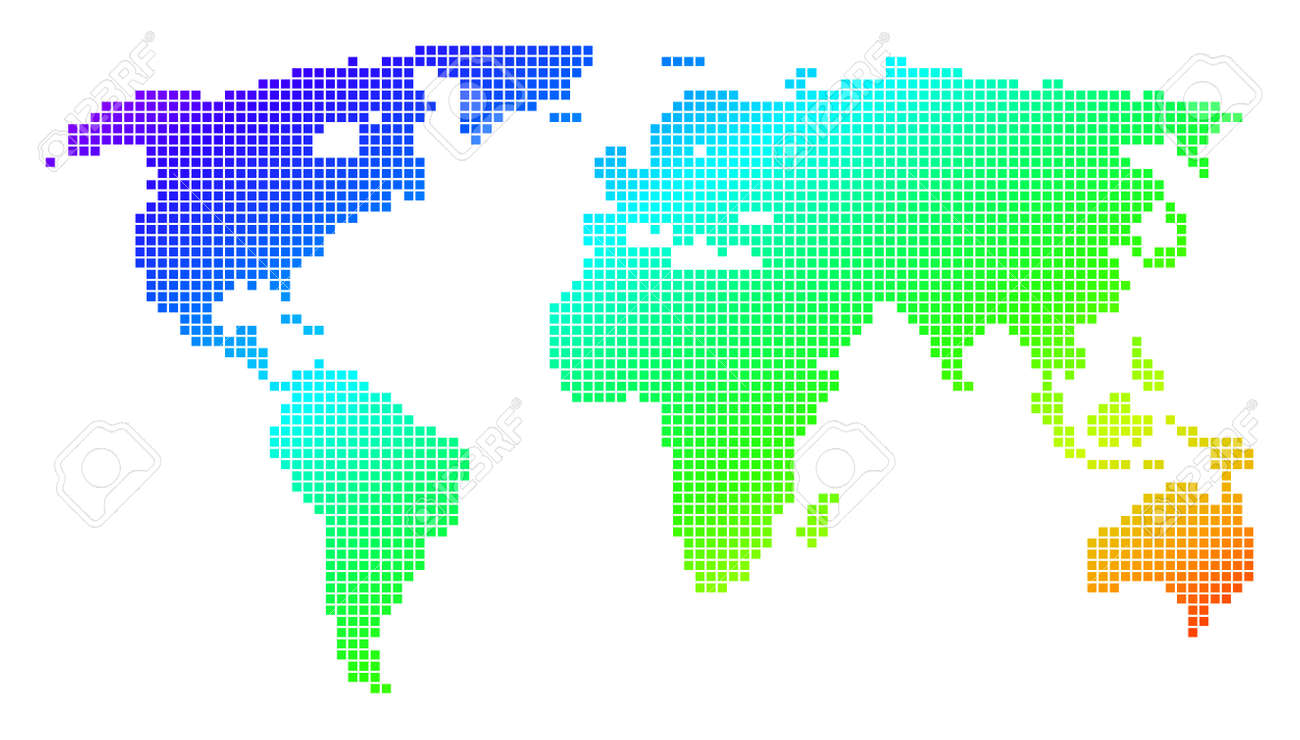 Spectrum dotted pixel world map vector geographic map in bright spectrum dotted pixel world map vector geographic map in bright colors on a white background gumiabroncs Choice Image