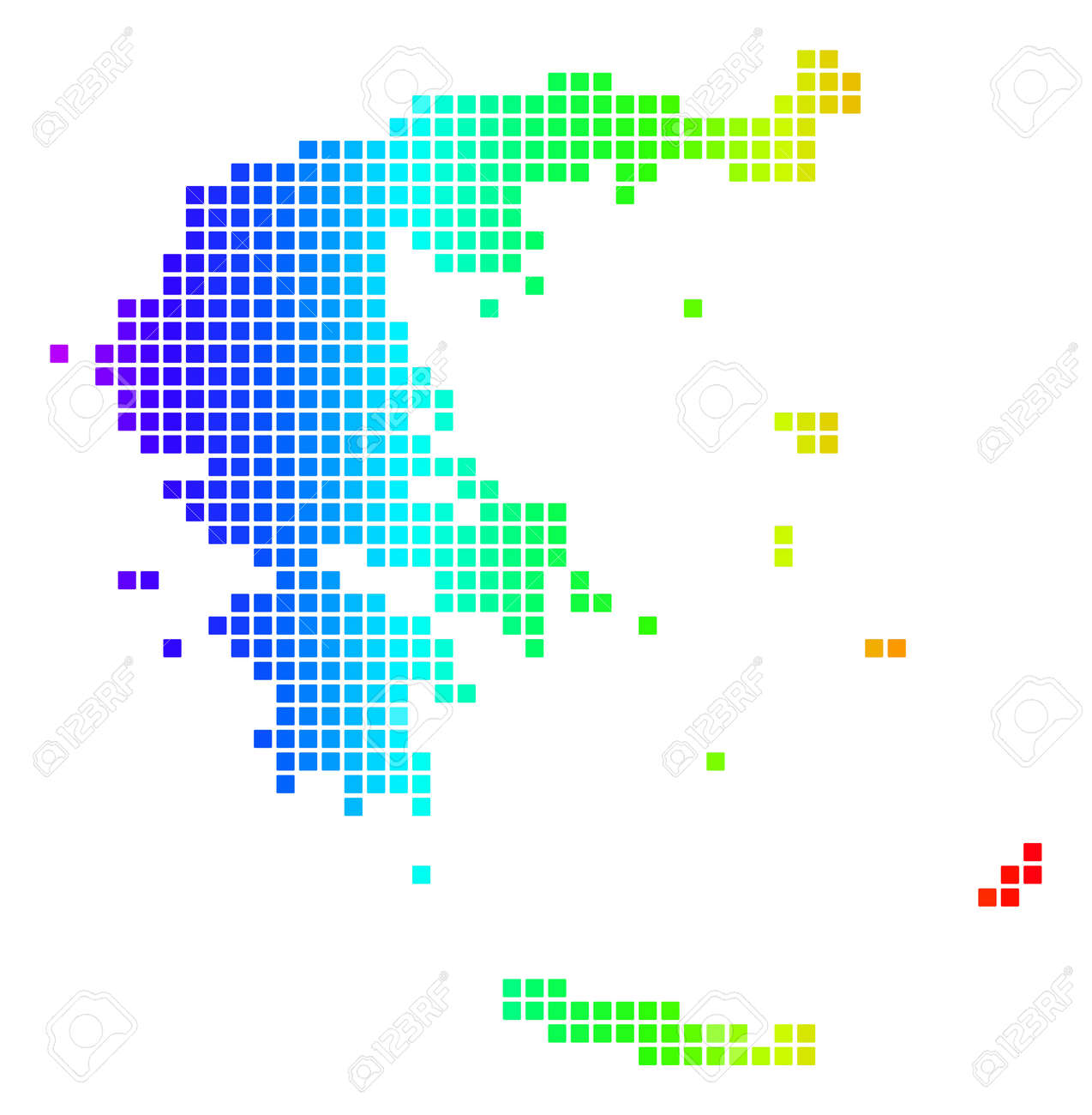 Dot Spectrum Pixelated Greece Map. Vector Geographic Map In Bright ...