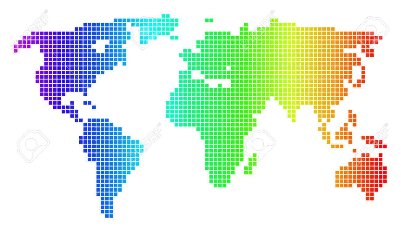 Dot Spectrum Pixelated World Map. Raster Geographic Map In Bright