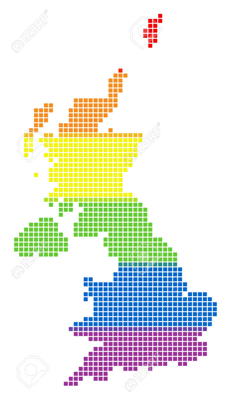Vector Homosexual Tolerance United Kingdom Map In LGBT Flag Colors