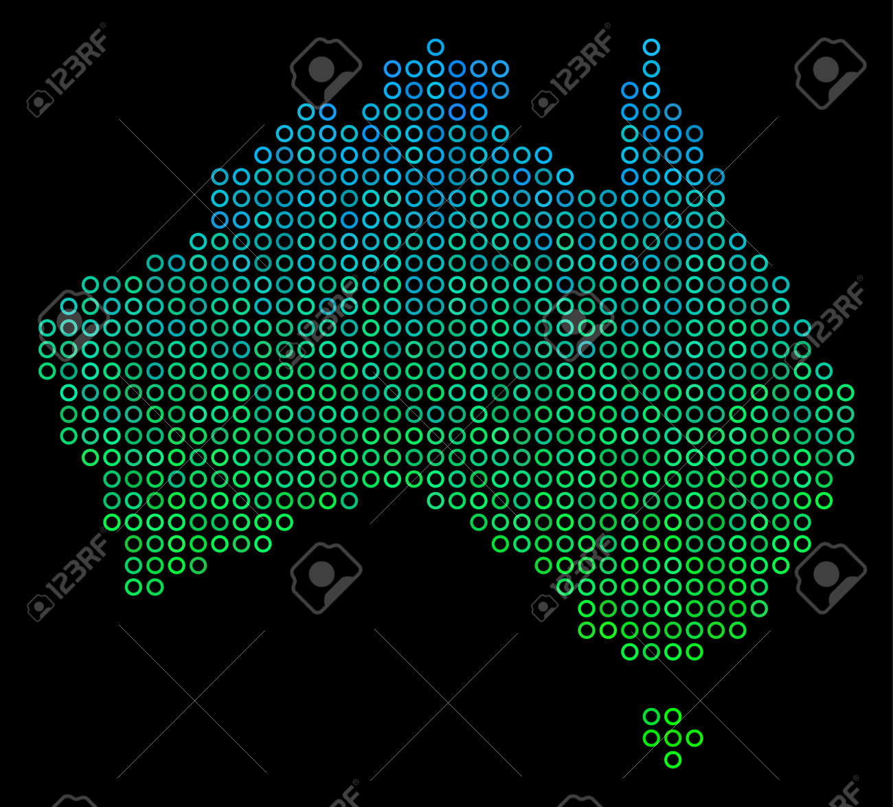 raster geographic map in green and blue gradiented color tinges on