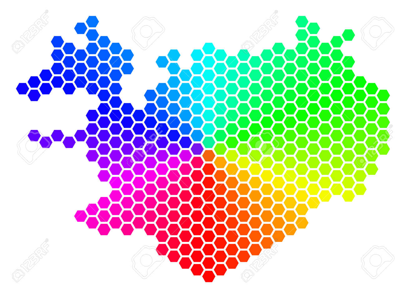 Spectrum Hexagon Iceland Map. Vector Geographic Map In Bright ...