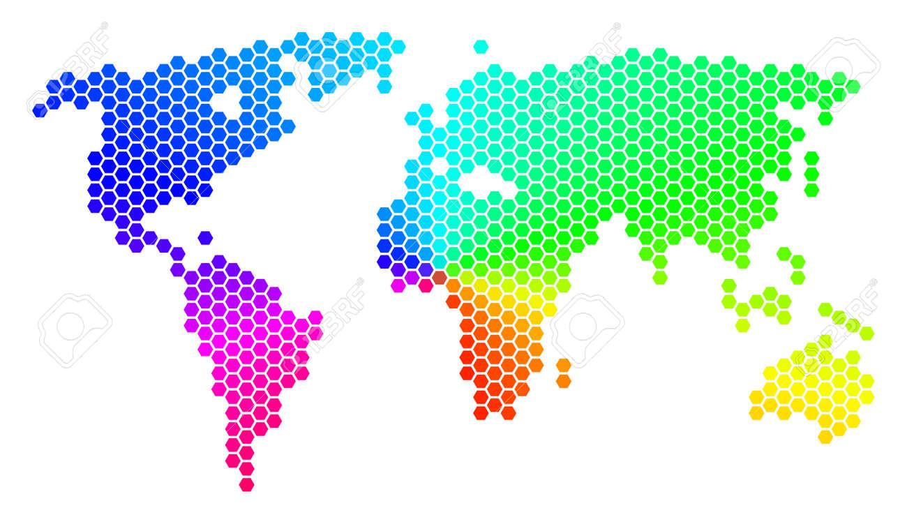 Spectrum hexagon world map vector geographic map in rainbow spectrum hexagon world map vector geographic map in rainbow colors on a white background gumiabroncs Gallery