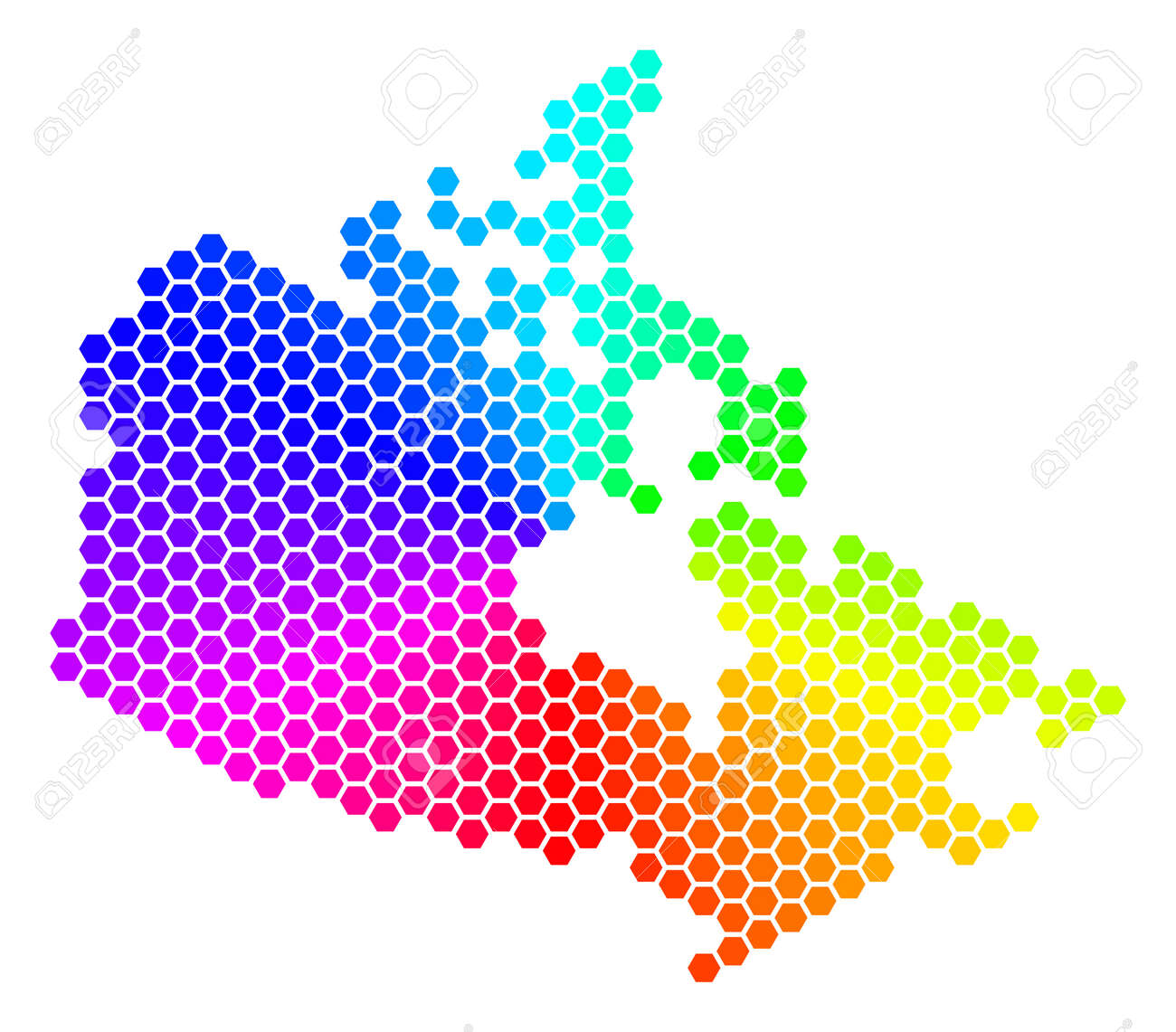 Colored Map Of Canada.Spectrum Hexagon Canada Map Raster Geographic Map In Rainbow
