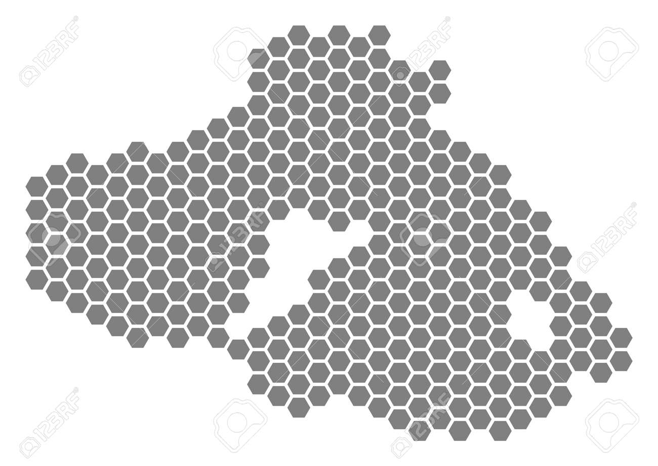 Grey Hexagon Greek Lesbos Island Map Vector Geographic Map In