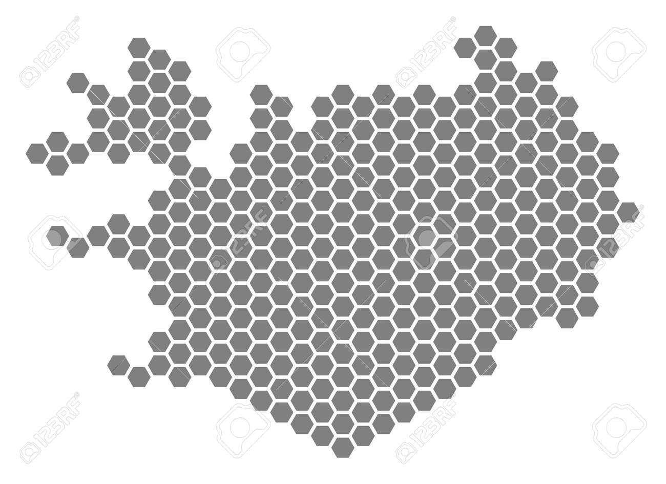 Gray hexagon Iceland Map. Vector geographical map in gray color..