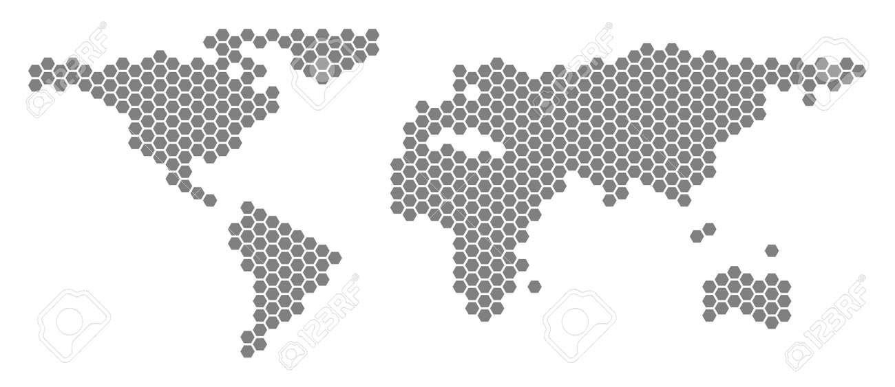 Grey Hexagonal World Map Vector Geographic Map In Gray Color