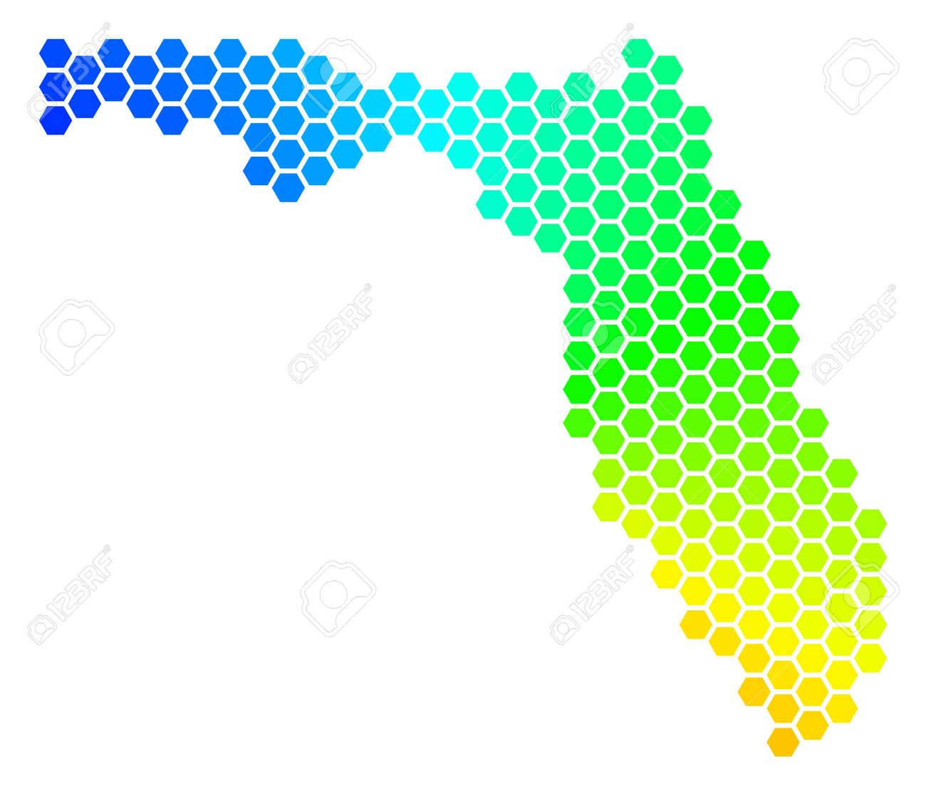 Spectrum hexagon Map  Vector geographic map in rainbow colors