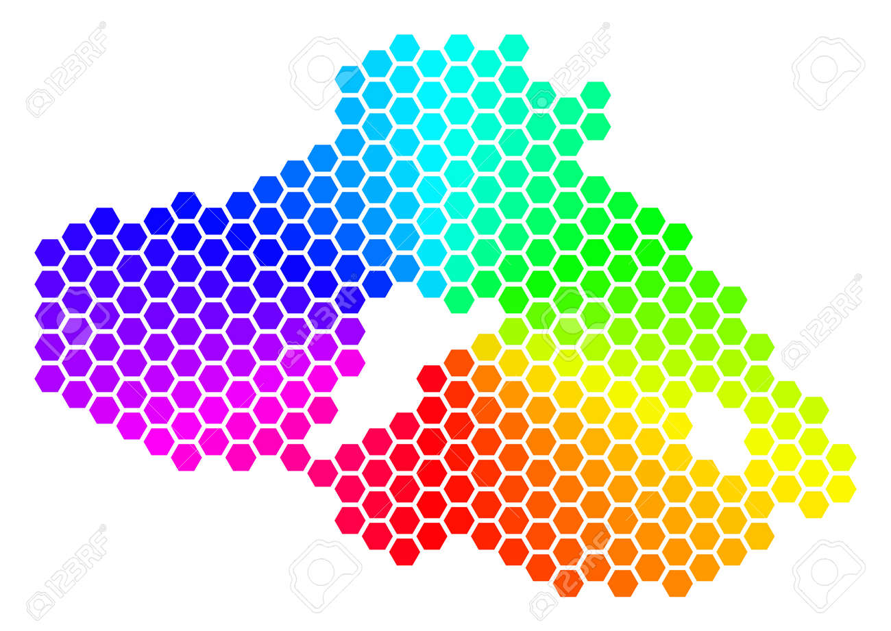 Spectrum Hexagon Greek Lesbos Island Map Vector Geographic Map