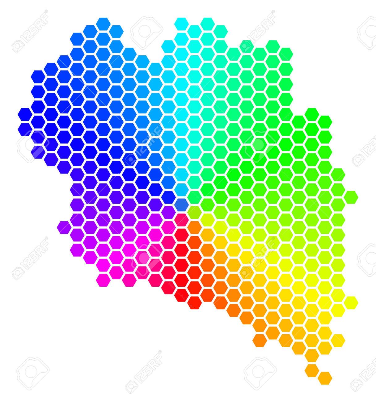 Koh Phangan Thailand Map.Spectrum Hexagon Koh Phangan Thai Island Map Vector Geographic