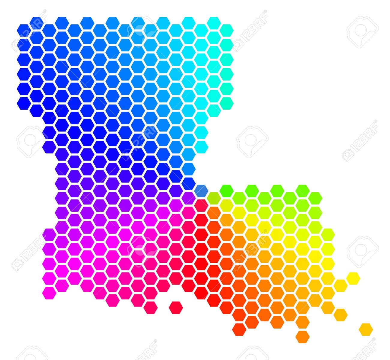 Geographic Map Of Louisiana.Hexagon Spectrum Louisiana State Map Vector Geographic Map In