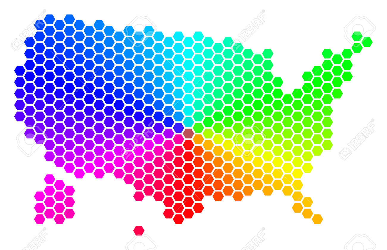Spectrum Hexagon Usa With Alaska Map Vector Geographic Map In