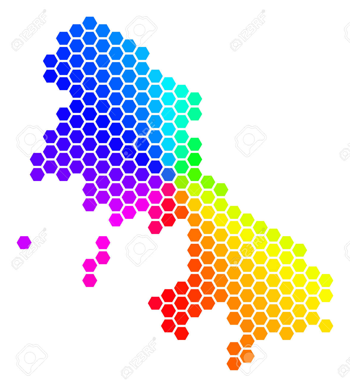 Spectrum Hexagon Skyros Greek Island Map Vector Geographic Map
