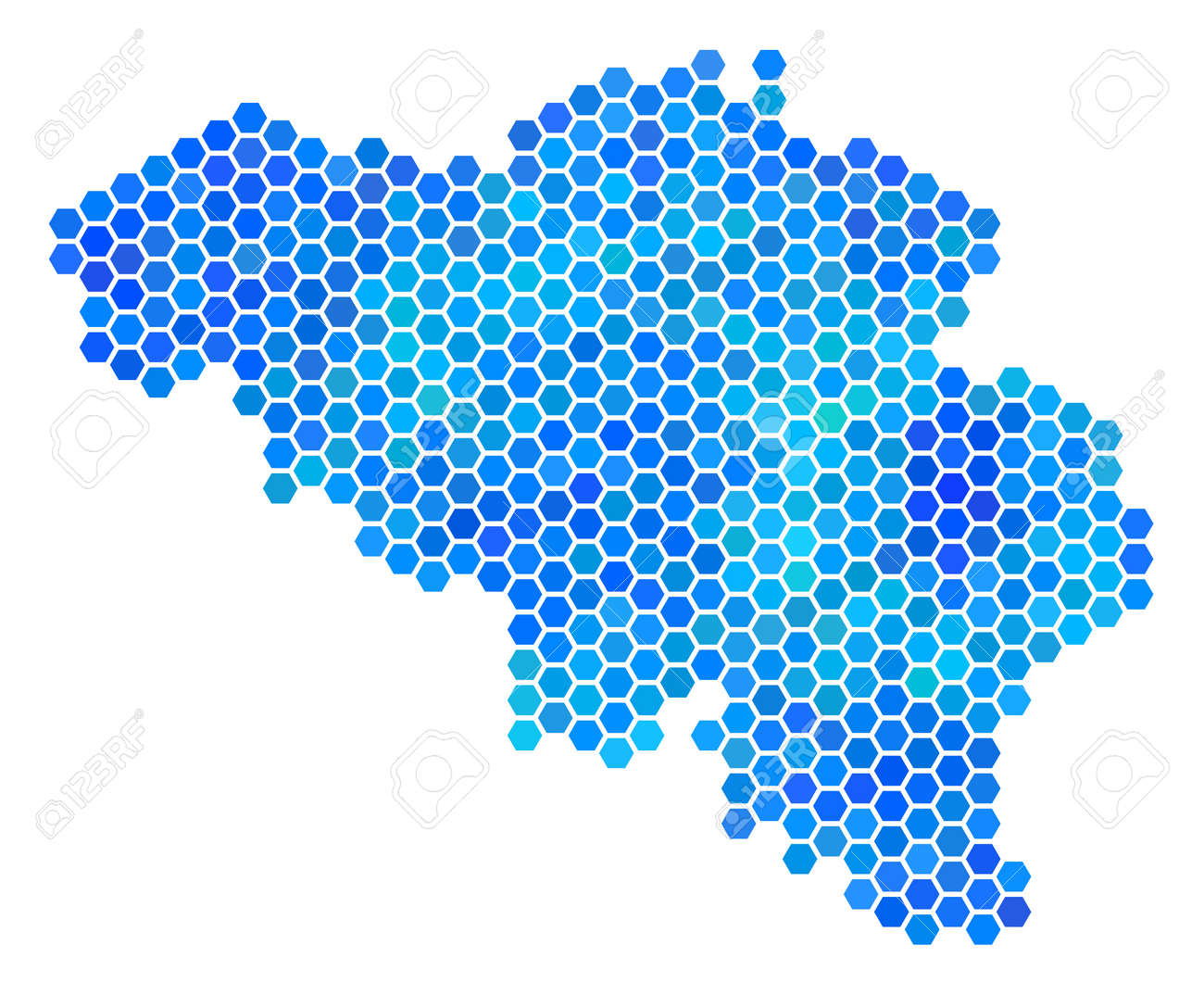 hexagon blue belgium map vector geographic map in blue color tints on a white background