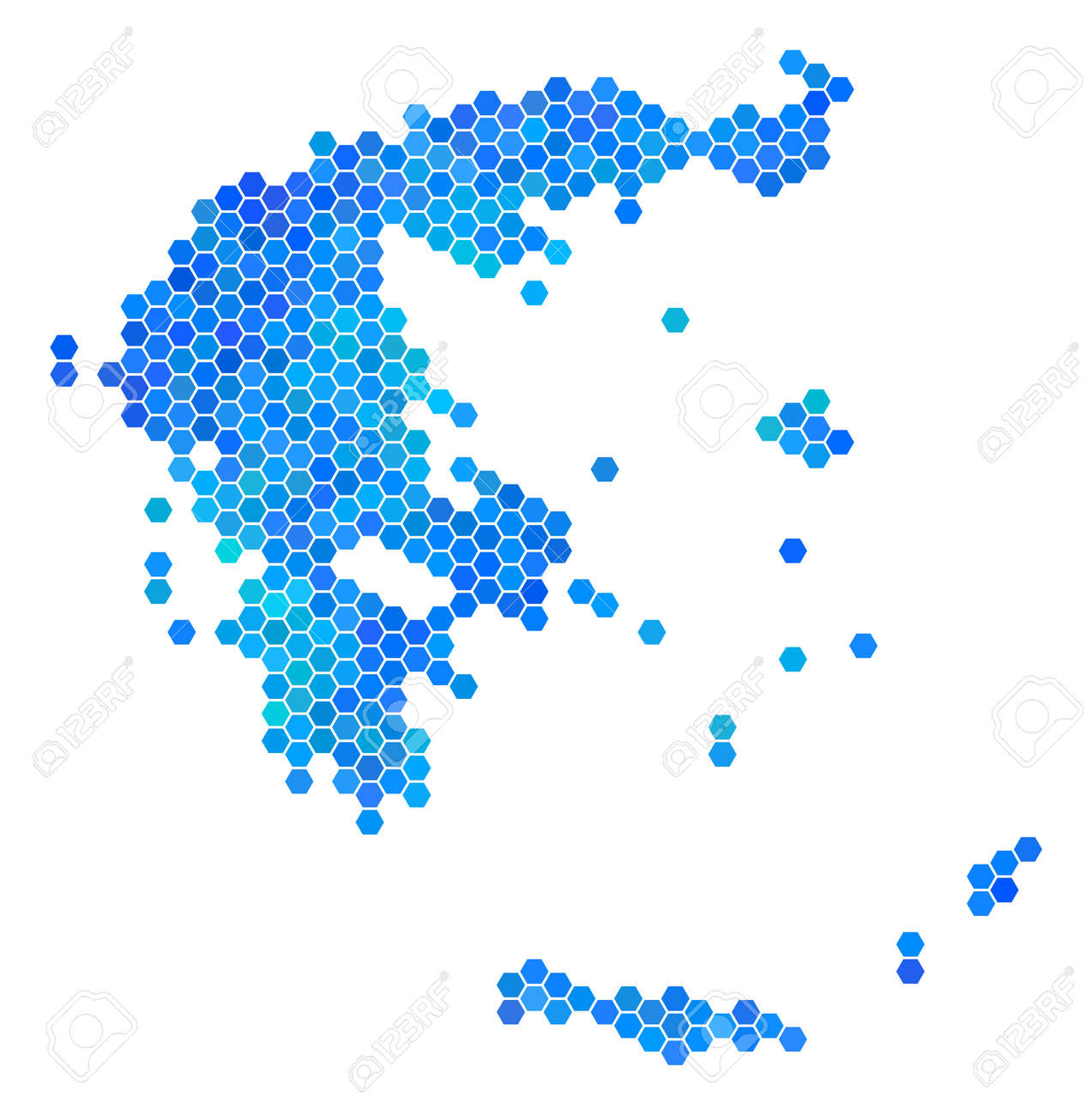 Hexagon Blue Greece Map. Vector Geographic Map In Cold Color ...