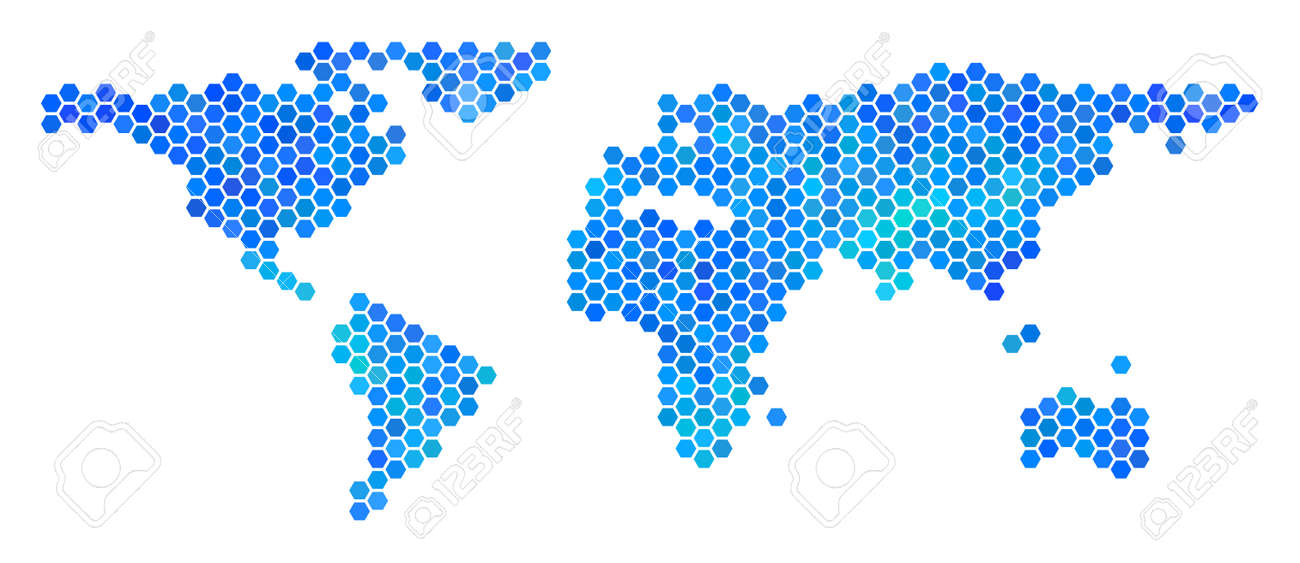 Blue Hexagon World Map. Vector Geographic Map In Blue Color Tones