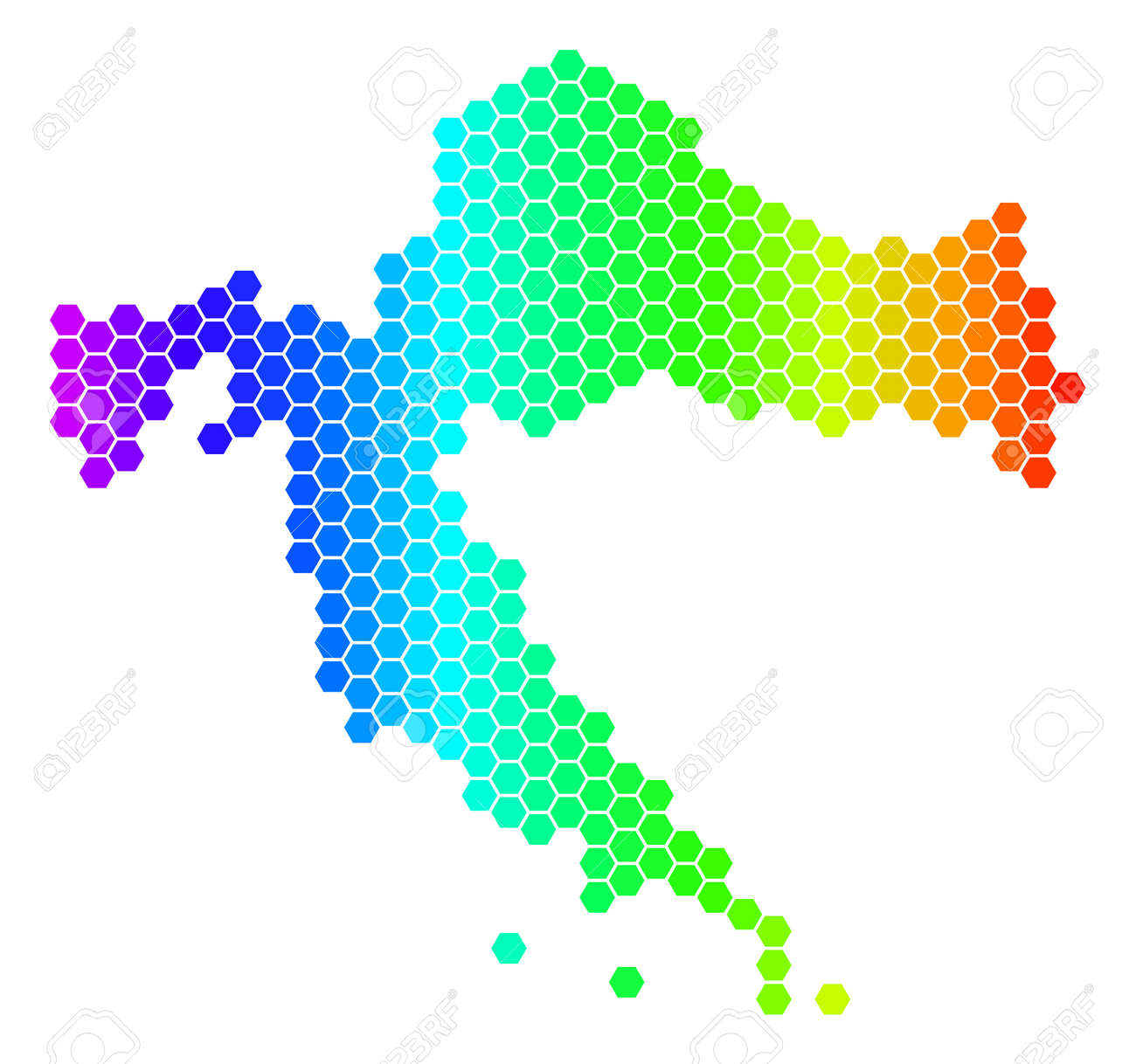Hexagon Spectrum Croatia Map. Vector Geographic Map In Bright ...