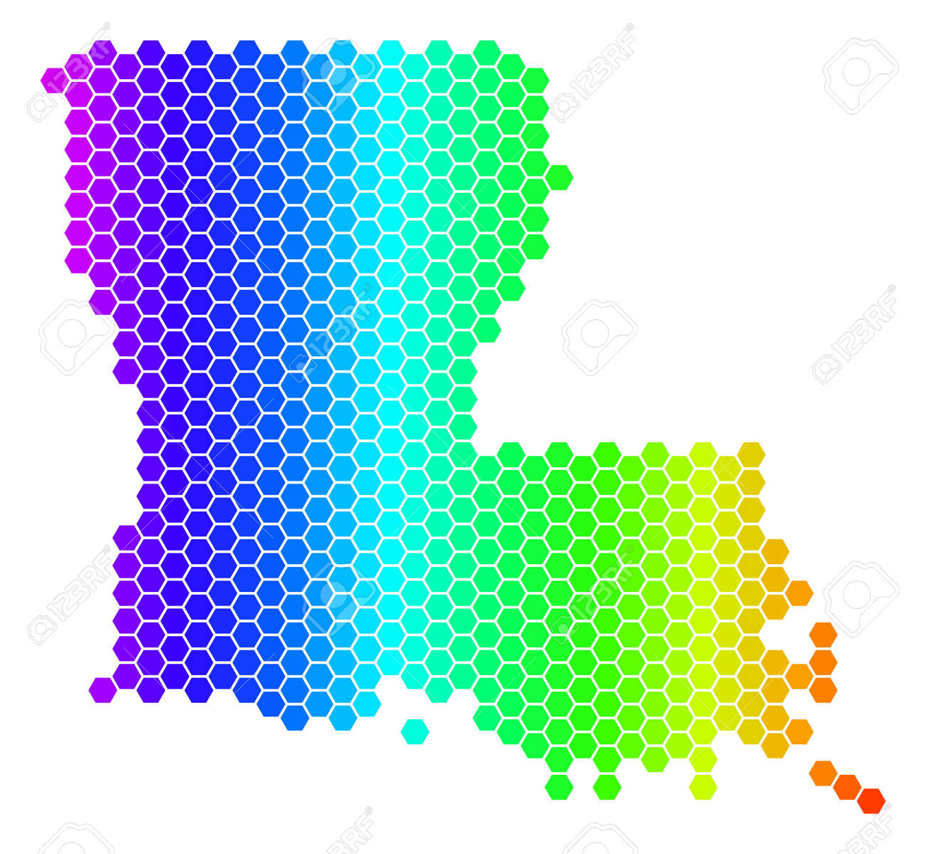 Geographic Map Of Louisiana.Spectrum Hexagonal Louisiana State Map Vector Geographic Map