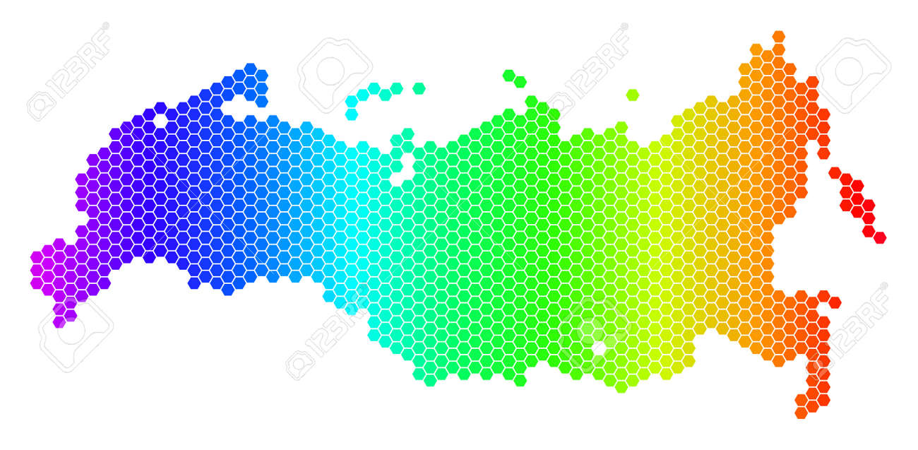 Hexagon spectrum Russia Map. Vector geographic map in bright.. on korea map, china map, poland map, australia map, united kingdom map, france map, iraq map, soviet union map, europe map, africa map, italy map, asia map, saudi arabia map, romania map, india map, baltic map, canada map, japan map, eurasia map, germany map,