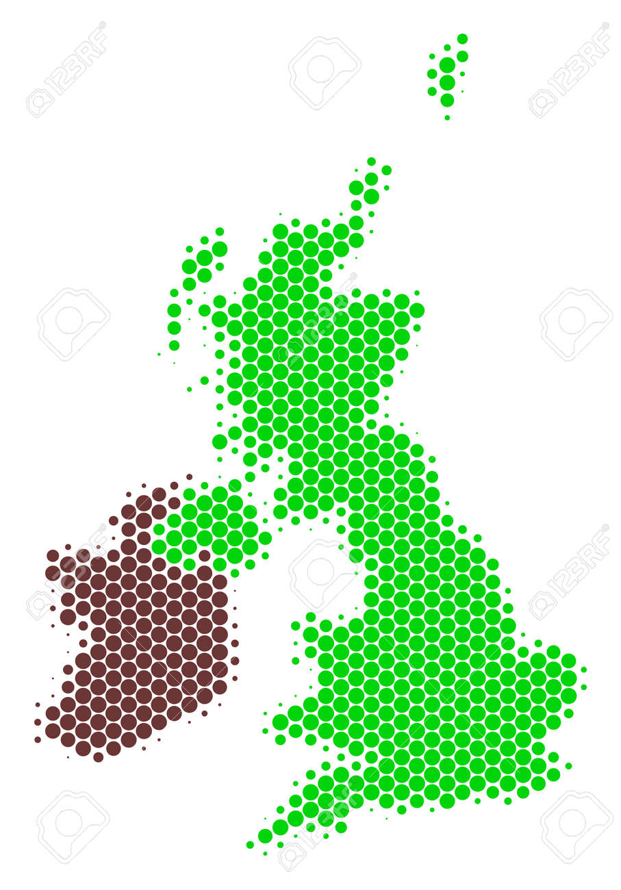 Halftone dotted Great Britain And Ireland Map. Vector geographical..