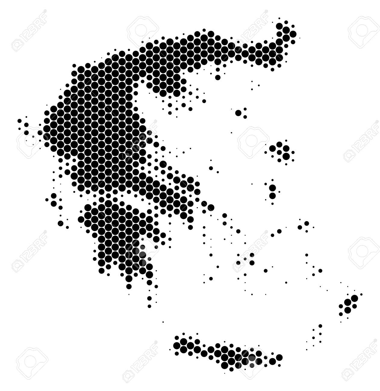 Halftone Round Spot Greece Map. Vector Geographic Map On A White ...
