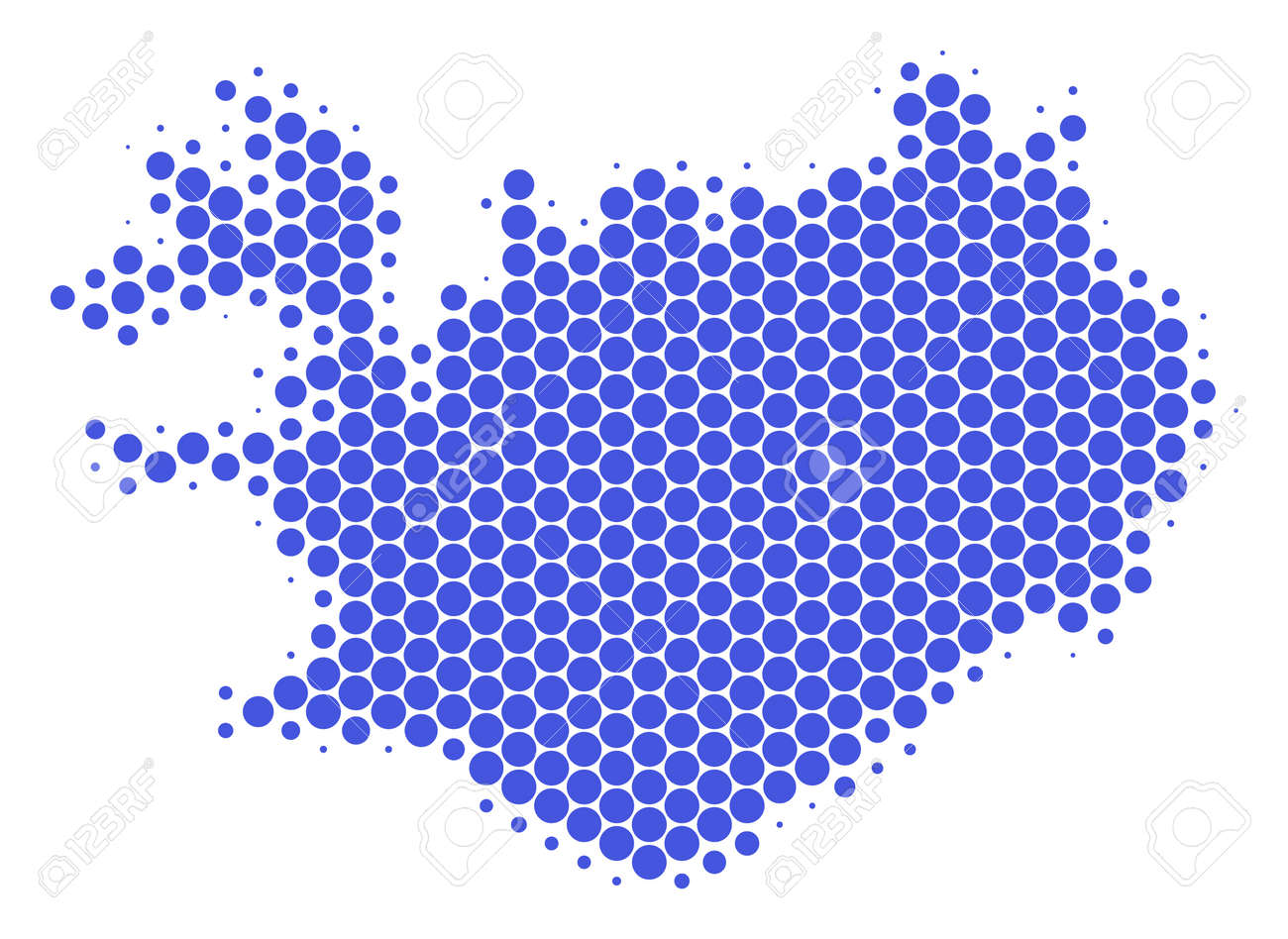 Halftone Round Spot Iceland Map. Vector Geographical Map On A ...