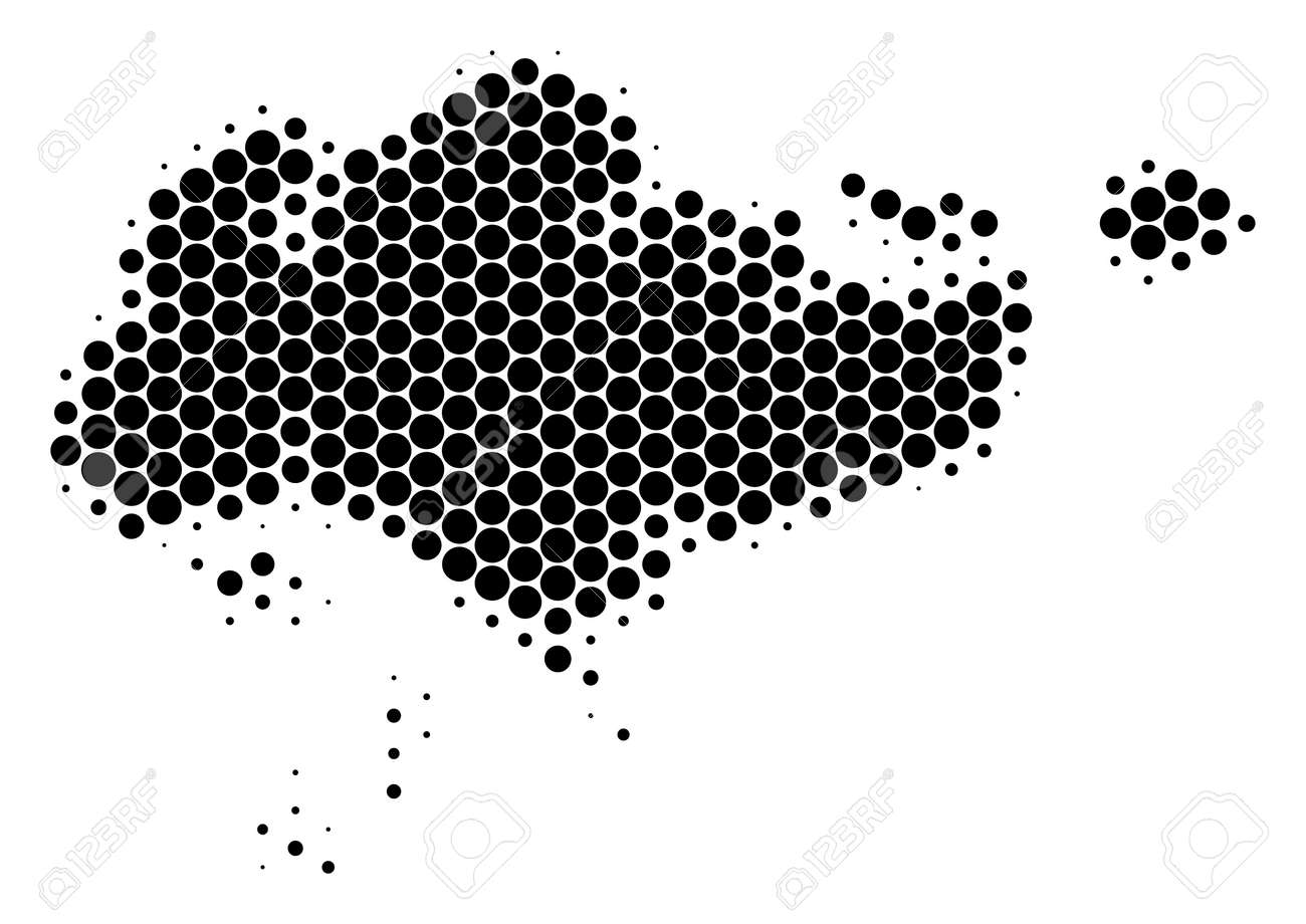 Halftone Dot Singapore Map. Vector Geographical Map On A White ...