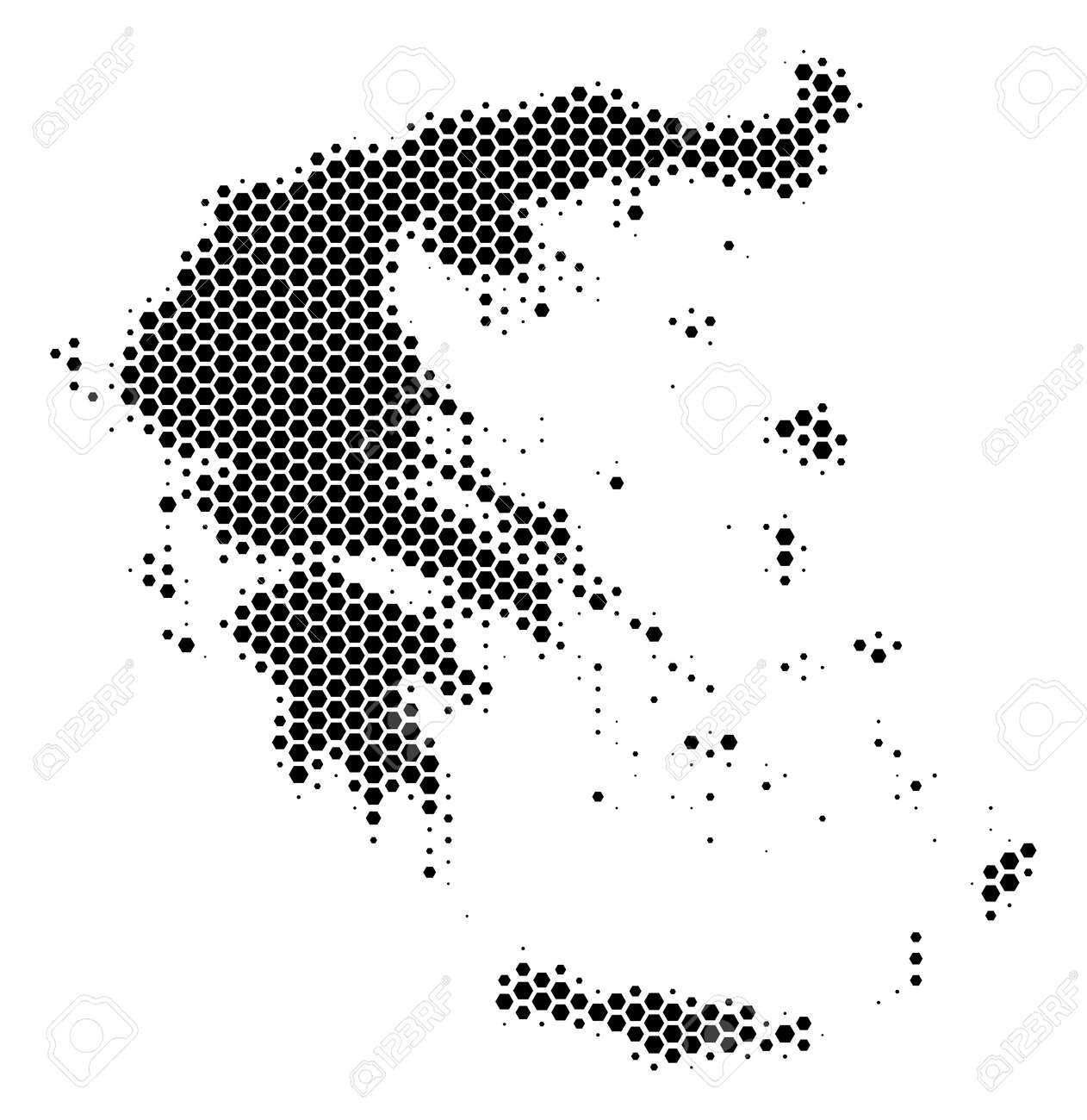 Halftone Hexagon Greece Map. Vector Geographic Map On A White ...