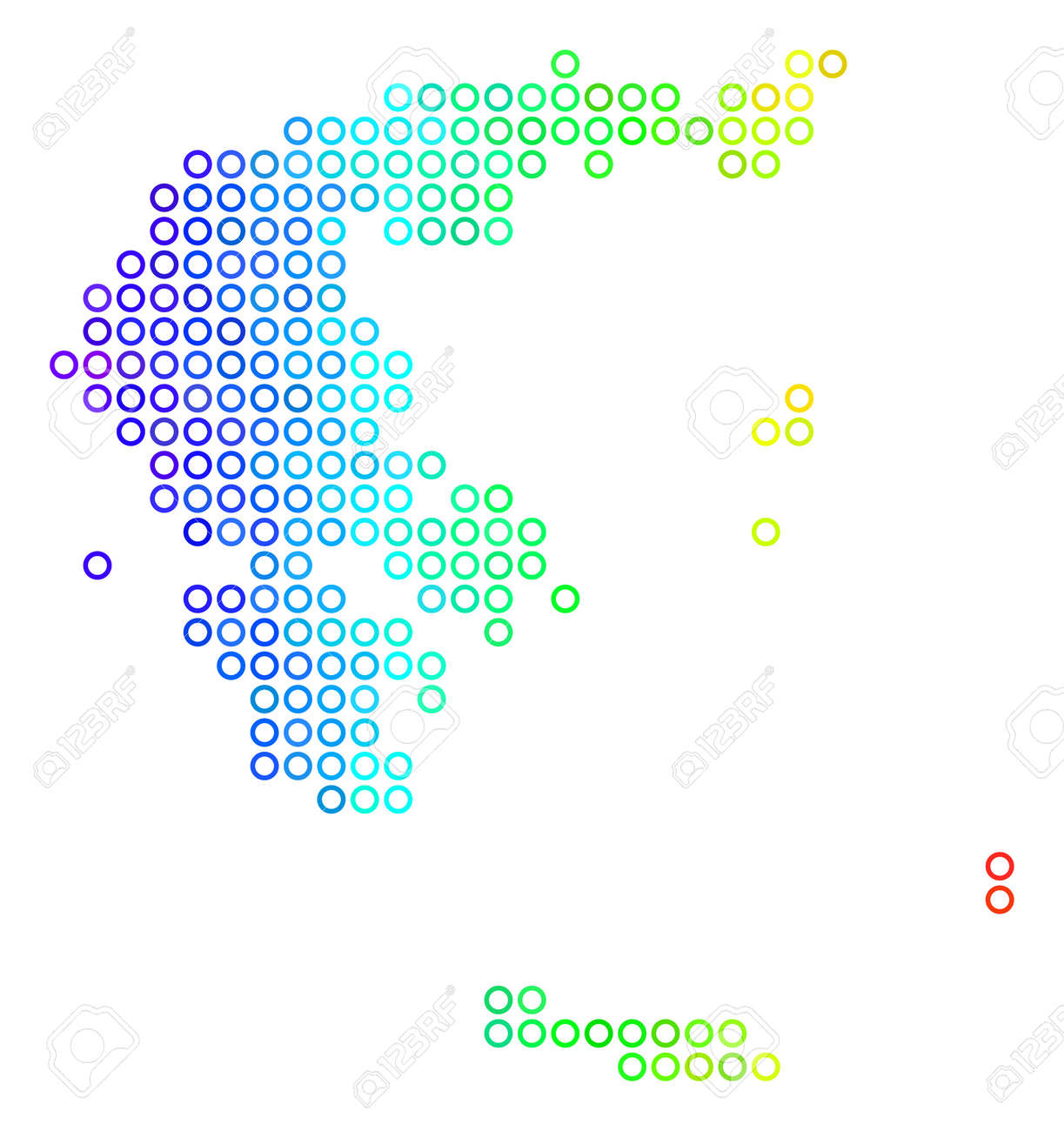 Bright Spectral Greece Map. Vector Geographic Map In Bright Rainbow ...