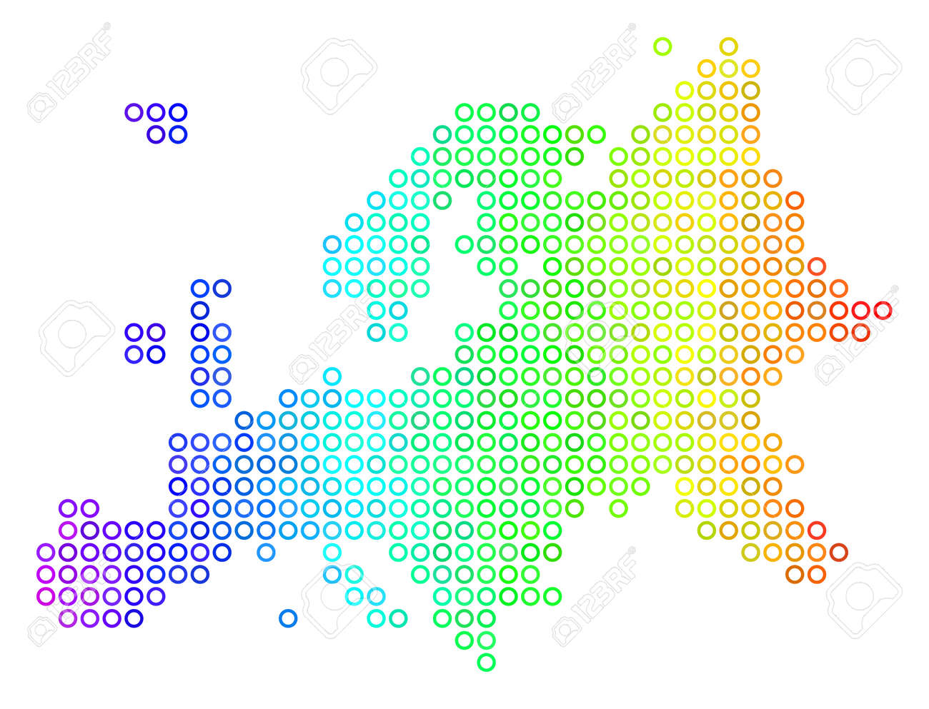 Colored Spectral Europe Map. Vector Geographic Map In Bright.. Stock ...