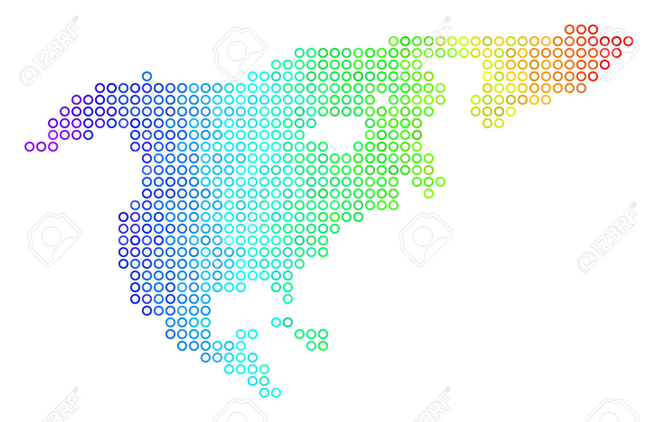 Colored Spectrum North America Map Vector Geographic Map In Stock