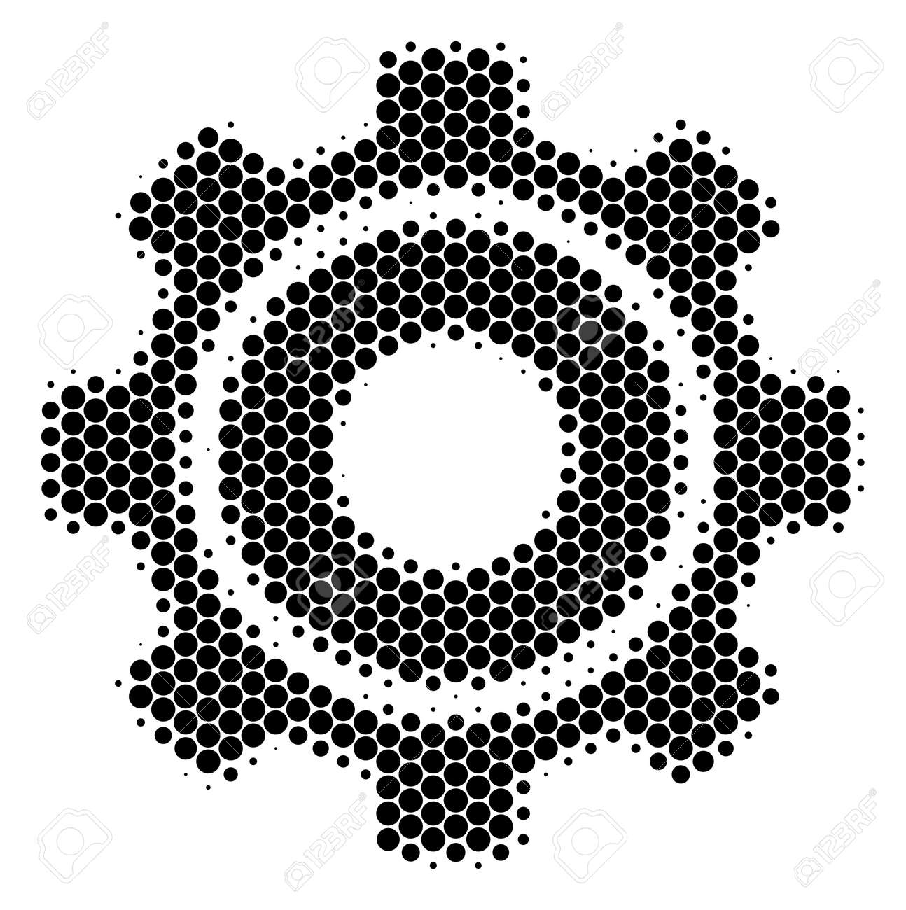 Halftone circle Cog icon  Pictogram on a white background  Vector