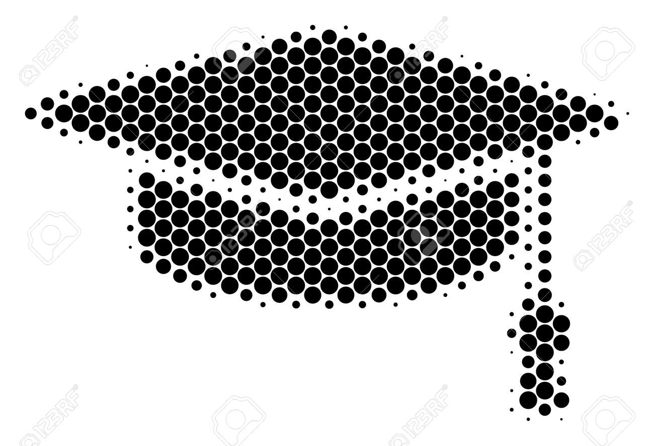 Halftone Dot Graduation Cap Icon. Pictogram On A White Background ...