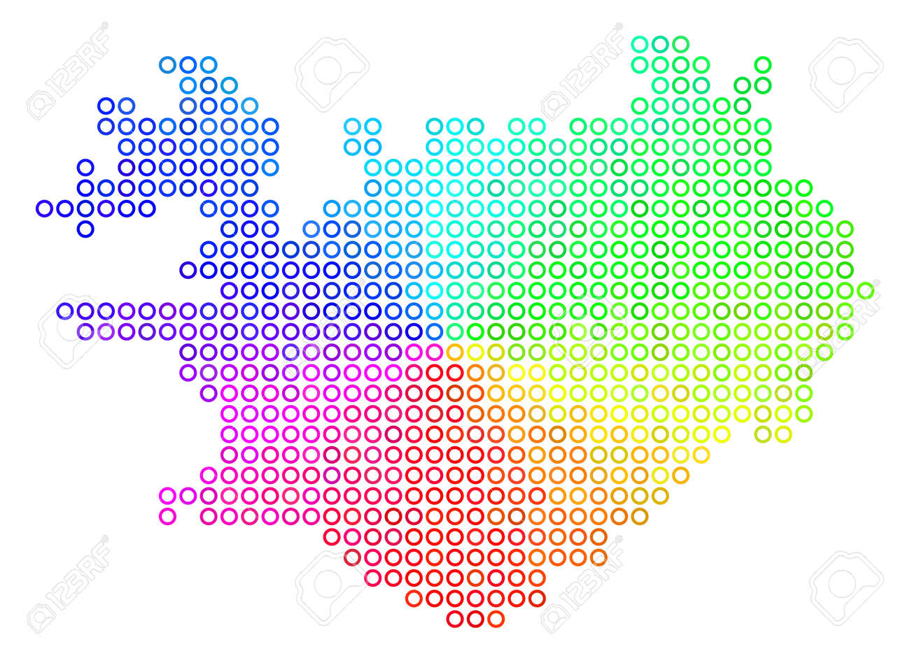 Spectrum Iceland Map. Vector Geographic Map In Bright Rainbow ...