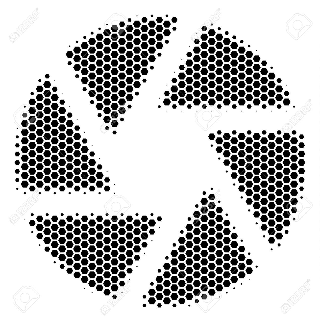 Halftone hexagon Shutter icon. Pictogram on a white background. Vector concept of shutter icon composed of hexagonal dots. - 100301724