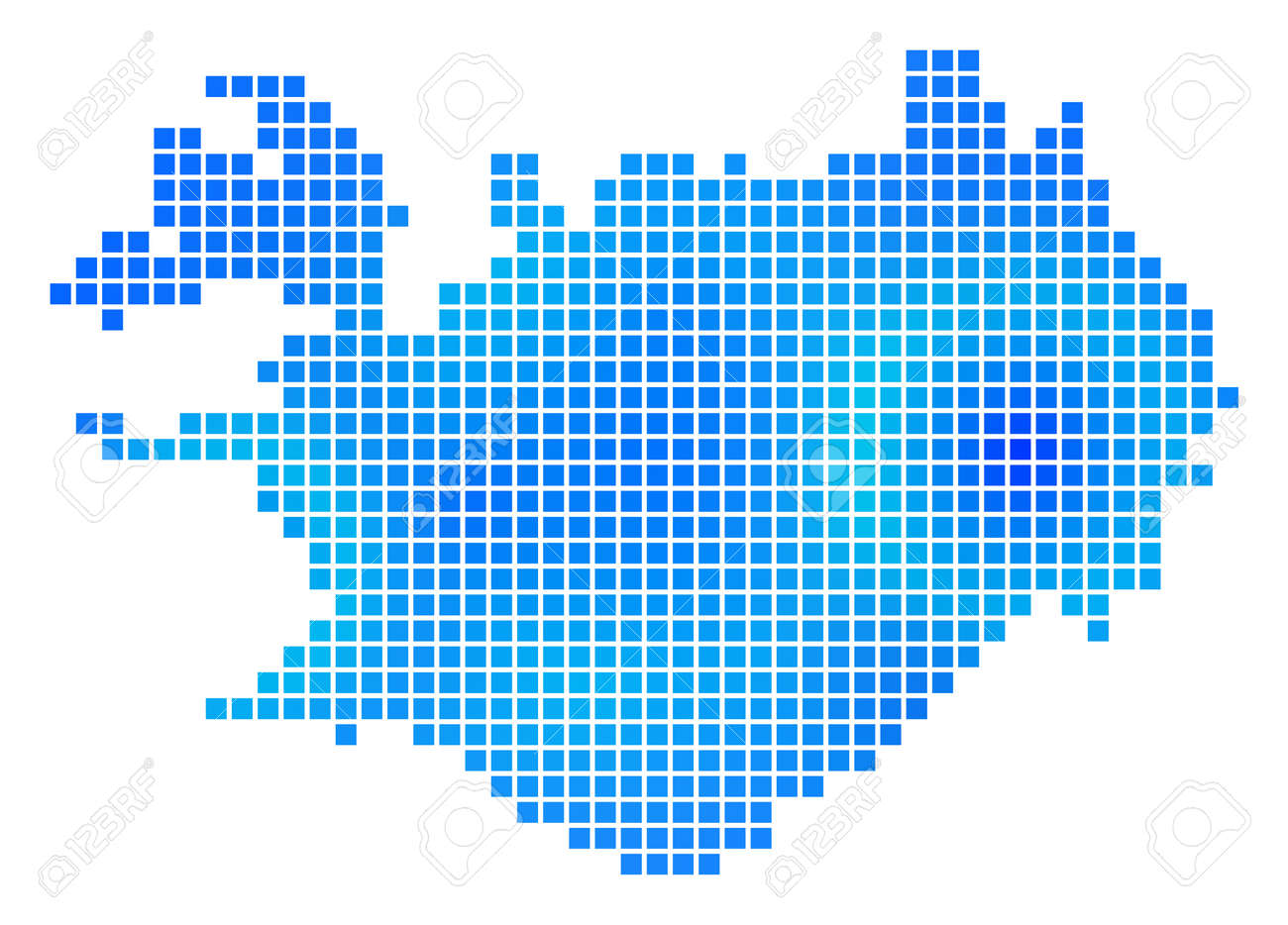 Blue Dot Iceland Map. Vector Geographic Map In Cold Blue Color ...