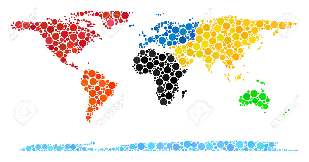World Continent Map Composition Of Dots In Various Sizes. Randomized ...