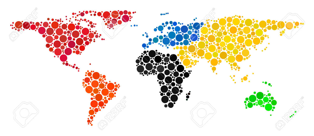 world map mosaic of spheric dots in variable sizes random round