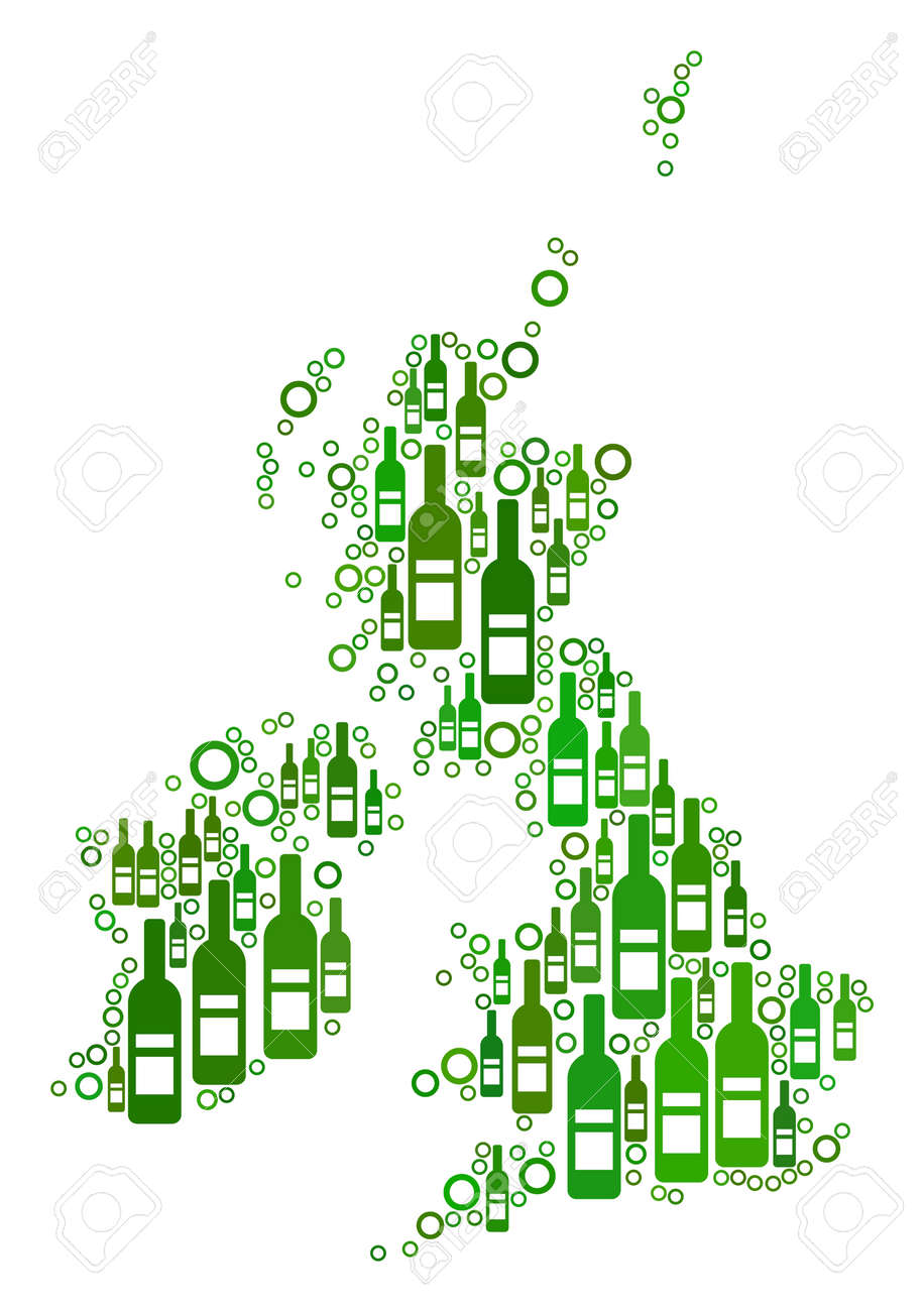 Empty Map Of Ireland.Great Britain And Ireland Map Mosaic Of Wine Bottles And Empty