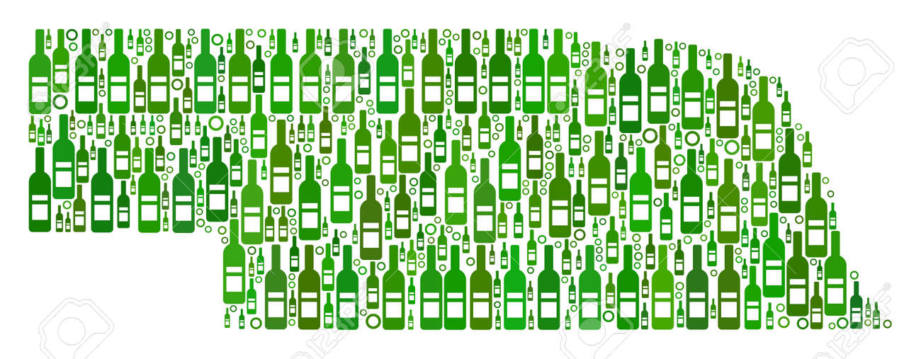 Nebraska State Map Collage Of Alcohol Bottles And Circle Particles