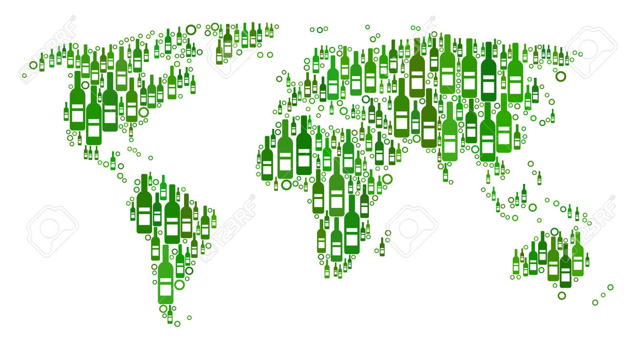 World map collage of alcohol bottles and empty circles in various vector world map collage of alcohol bottles and empty circles in various sizes and green color variations abstract world map vector composition gumiabroncs Images
