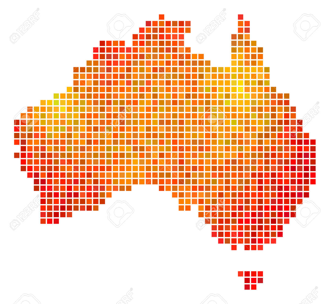 Dotted Fire Australia Map. Vector Territory Map In Bright Orange ...