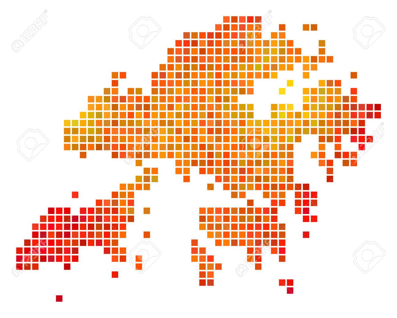Dotted Orange Hong Kong Map. Vector Territorial Map In Orange ...