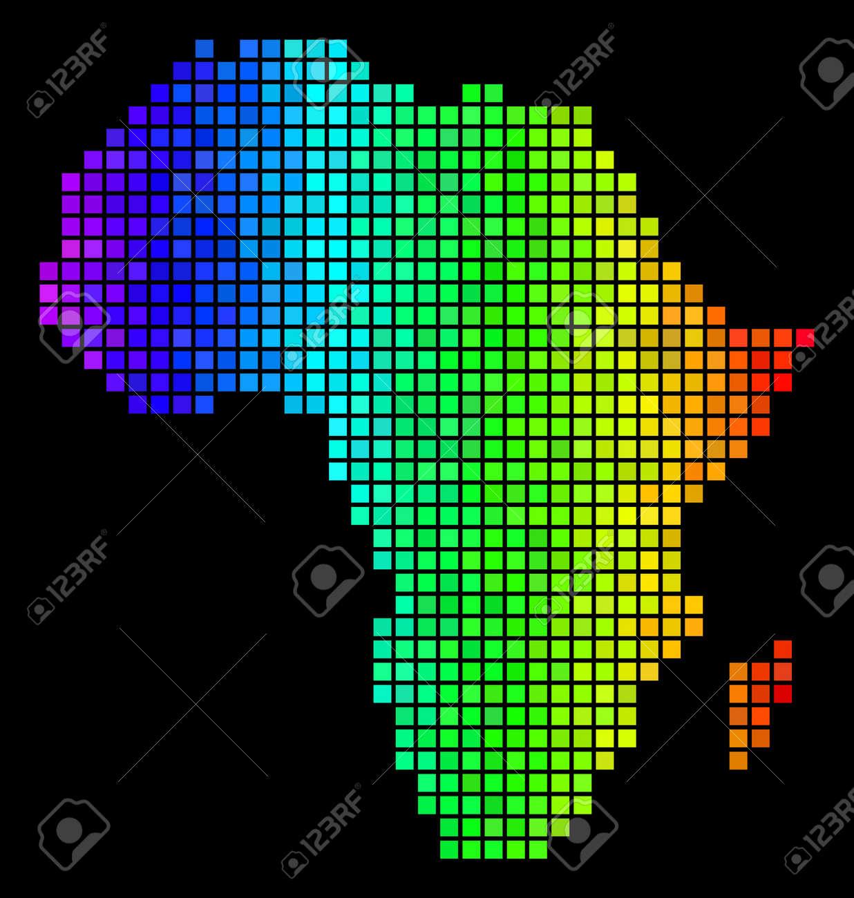 Digital Africa Map. Vector Territory Scheme In Glossy Spectrum
