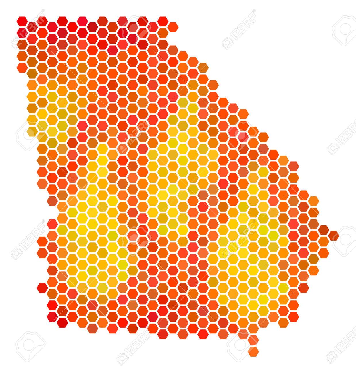 American State Georgia Map. Vector Hexagonal Territorial Map ...