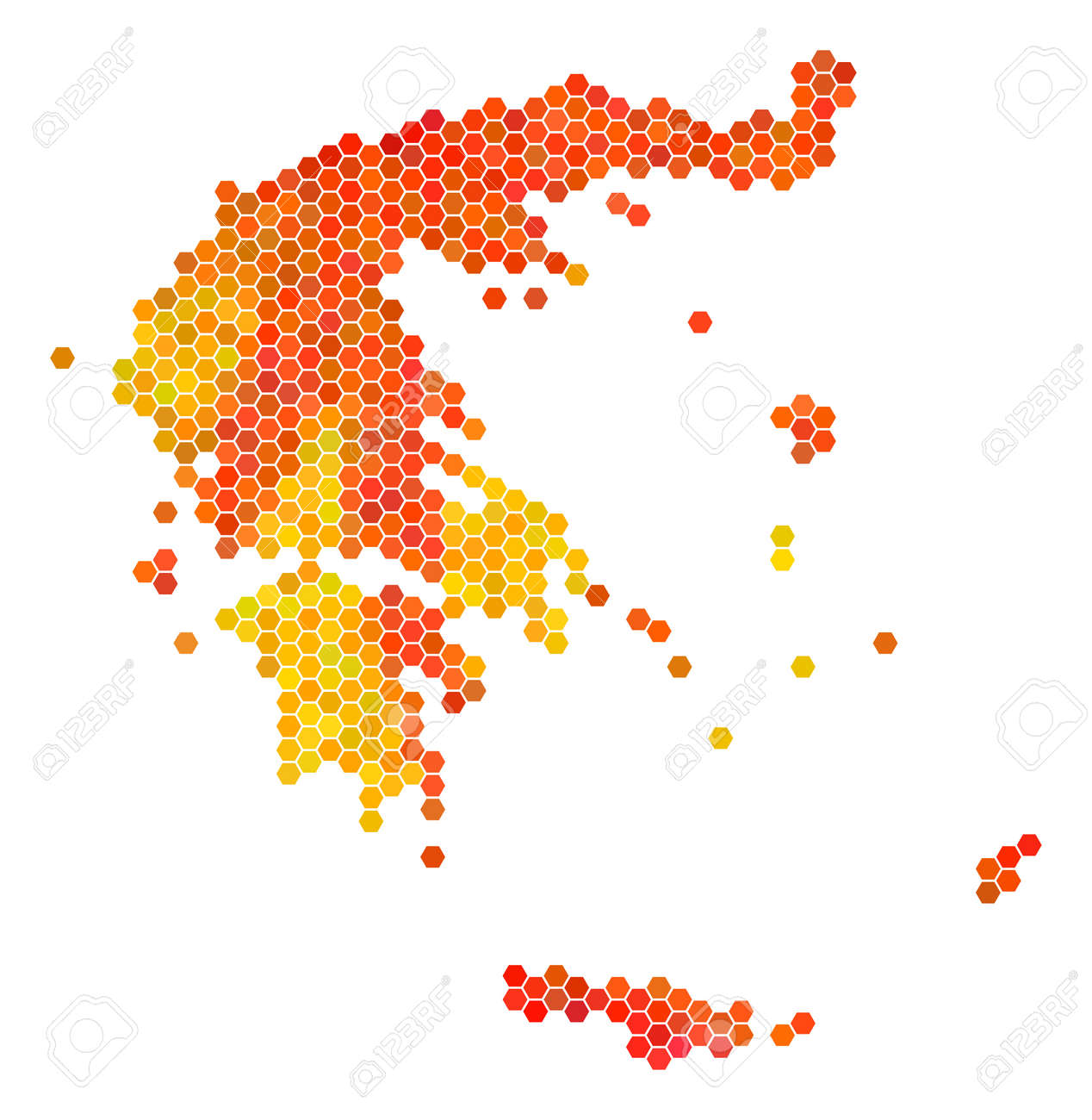 Greece Map. Vector Hex Tile Geographic Map In Orange Color Hues ...