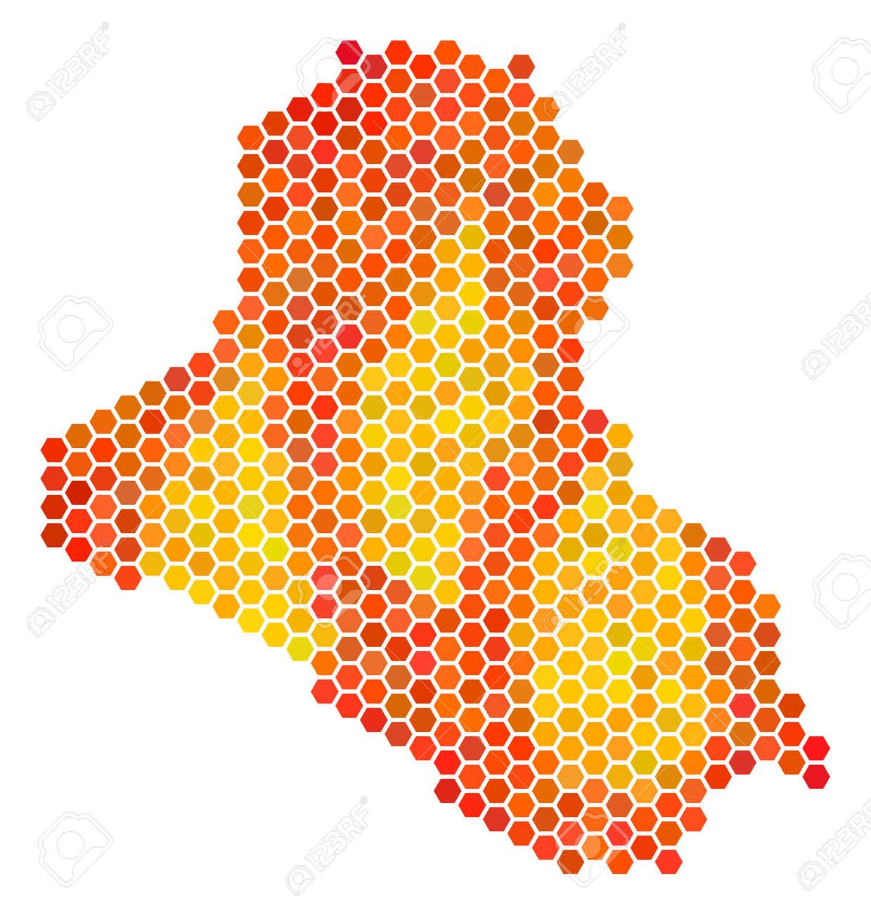 iraq map vector hex tile territory scheme using bright orange