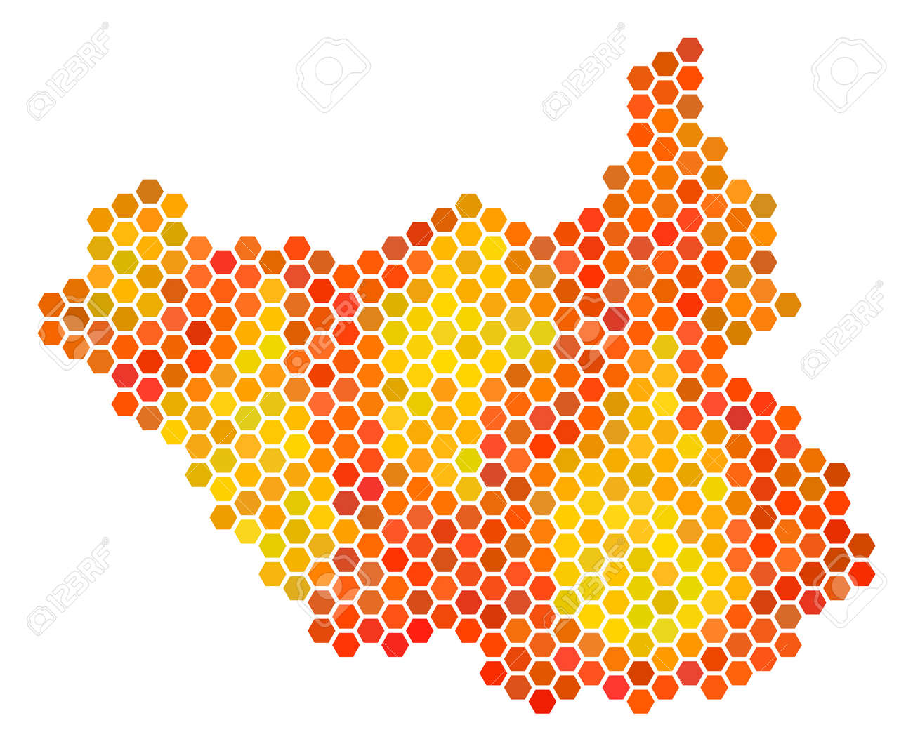 south sudan map vector hex tile territory map drawn with bright
