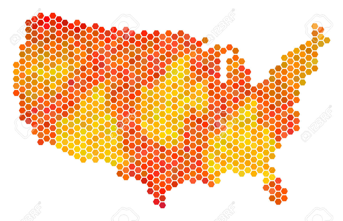 USA Map. Vector Hex Tile Territory Scheme Drawn With Orange Color ...